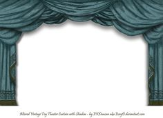 Altered Vintage Paper Toy Theater curtain in Dark Teal with Shadow png by ~EveyD on deviantART aka EKDuncan.