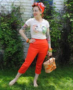 Blistering orange capris, Butterick B5895 | By Gum, By Golly