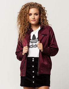 MEMBERS ONLY Satin Womens Bomber Jacket Burgundy