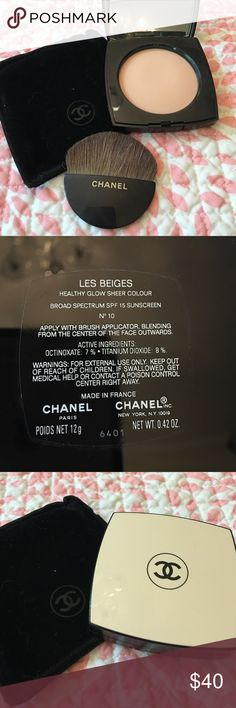 "NWOT Chanel Les Beiges Healthy Glow Sheer Color From Chanel: ""With an effortless touch, this innovative, versatile powder makeup enhances, brightens or bronzes the complexion for a custom glow. On its own, it heightens skin's natural beauty; over foundation, provides a sheer, luminous finish. Advanced technology protects against skin-dulling environmental stressors, while White Rose and Cotton Flower offer absolute comfort for even the most sensitive complexions. In seven no-fail shades…"