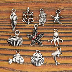 Mixed Tibetan Silver Plated Charms DIY Jewelry Making     FREE Shipping Worldwide     http://fashjewels.de/mixed-tibetan-silver-plated-ocean-hippocampus-turtle-shells-fish-charms-pendants-jewelry-making-diy-accessories-handmade-m020/