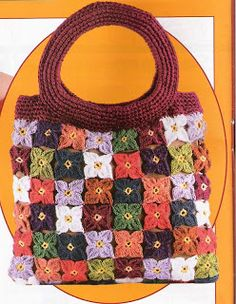 crochet - There are an amazing number of bags and purses at this site. Crochet Diy, Crochet Motif, Crochet Patterns, Crochet Hats, Flower Crochet, Crochet Handbags, Crochet Purses, Little Bag, Knitted Bags