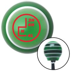 Red Transfer Case 5 Green Stripe Shift Knob with M16 x 15 Insert
