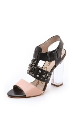 Sam Edelman Yara Chunky Heel Sandals in Pink (black) | Lyst