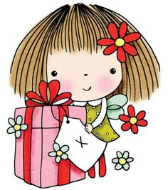 Gift Of Love - Cling Rubber Stamp from Penny Black. Christmas themed Penny Black Slapstick cling stamp featuring a little girl with a bird. Birthday Greetings, Birthday Cards, Happy Birthday, Digi Stamps, Copics, Cute Illustration, Cute Drawings, Flower Drawings, Pencil Drawings