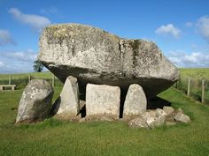 The Brownshill Dolmen, (officially known as the Kernanstown Cromlech) near Carlow, Ireland;  the capstone is thought to be the heaviest in Europe;  scientists think it was built between 4000 and 3000 BC;  photo by Majka44