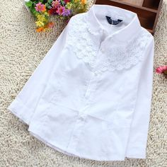 Cheap blouse fabric, Buy Quality blouse back directly from China blouse design Suppliers: Girls White Blouse Cotton Lace School Girl Blouse For Girls Long Sleeve Shirts Spring & Autumn Fashion Shirt Kids C Girls White Blouse, White Lace Blouse, Baby Girl Shirts, Shirts For Girls, Uniform Shirts, Girls Formal Dresses, Teenage Girl Outfits, Spring Shirts, Lace