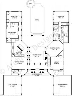 Pingree House Plan - Daylight Basement Floor - House Plan - First Floor Plan U Shaped House Plans, U Shaped Houses, Pool House Plans, Courtyard House Plans, Ranch House Plans, Dream House Plans, Unique House Plans, The Plan, How To Plan