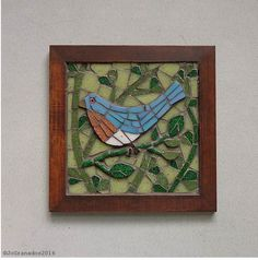 SOLD! Mosaic Wall Art, Glass Mosaic, Bird with green background mosaic, Eastern Bluebird on a branch, original artwork (about 6.7 X 6.7 inches) by #JoGranadosMosaics on #Etsy #EtsySuccess #BluebirdMosaic #MosaicArtwork