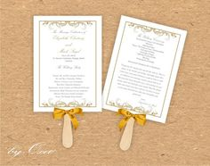 Printable Wedding ceremony fan program template Gold by Oxee, $7.00
