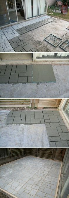 A patio of squares and rounds. Colored stones, surrounded by pavers of stained concrete, create the illusion of a stream bubbling. Best patio design ideas, for for back yard or front yard on your garden Backyard Projects, Outdoor Projects, Backyard Patio, Garden Projects, Backyard Landscaping, Diy Patio, Desert Backyard, Budget Patio, Concrete Patios