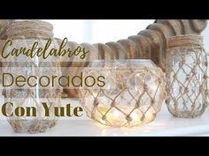 DIY - Windlicht im Fischernetz-Look Macrame Wall Hanging Patterns, Yarn Wall Hanging, Jute, Macrame Tutorial, Knitting Videos, Diy Videos, Decoration, Wine Glass, Diy Crafts