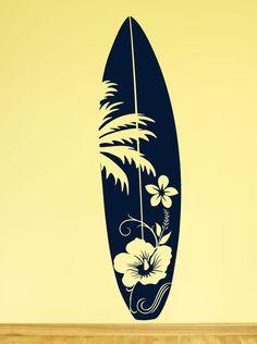 Surfboard Wandtattoo Surfbrett Hawaii Strand Meer Hibiskus Surfer Aufkleber