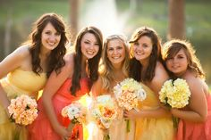 Love the sunny bridesmaid dresses and colors!  Sunshine yellow and sunset orange!
