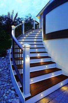 #Trex #Deck Lighting on a Chantilly  FREE stair lighting by EXOVATIONS this month with purchase of TREX deck. www.exovations.com for details!