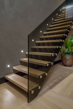 Amazing Luxury Staircase Design Ideas Modern House - Page 29 of 30 Glass Stairs Design, Home Stairs Design, Interior Stairs, Modern House Design, Home Interior Design, Glass Stair Railing, Staircase Design Modern, Staircase Ideas, Modern Stair Railing