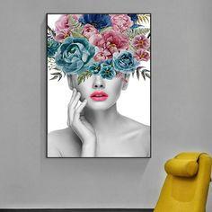 Fashionable Flowers Portrait Figure Art Beauty Fashion Posters Fine Art Prints – NordicWallArt.com Flower Painting Canvas, Flower Canvas, Canvas Art Prints, Canvas Wall Art, Canvas Paintings, Fashion Wall Art, Floral Wall Art, Wall Art Pictures, Decoration