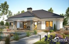 PROJECT AVAILABLE ONLY WITH US A one-storey house with a useless attic that can be adapted to residential functions as part of the adaptation. Modern Bungalow House Design, Modern House Facades, Bungalow House Plans, House Front Design, Cottage House Plans, Dream House Plans, Modern House Plans, Bungalow Exterior, Modern Farmhouse Exterior