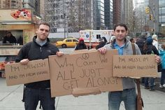 New Yorkers calling for peace in the Middle East: | 40 Best Protest Signs Of 2012
