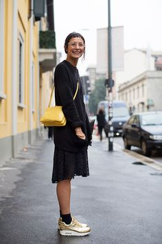 So much good about this look, but especially the little bangs. From Sartorialist.
