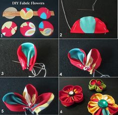 Tutorials for My Hair Accessories : How to make a colorful fabric flower with small rosette