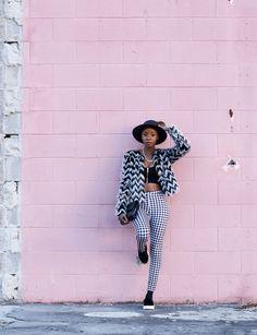 @blakevond mixes black & white patterns for dramatic flair. Photo: Augusta Sagnelli.   H&M OOTD