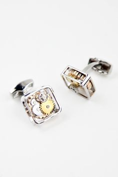 """These amazing """"Steampunk Inspired"""" Silver Geared Cufflinks are a must for the Gear Head in your life. Steampunk is the subgenre of science fiction that incorporates technology and aesthetic designs in"""