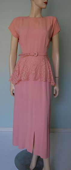 1940s Rayon Crepe Gown with Peplum - Full Length - Evening - Party Wear