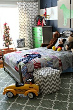 Cute boy room decorated for Christmas