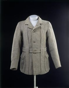 Norfolk jacket and neck piece, wool tweed lined with satin and cotton with horn buttons, 1890-1900, British.
