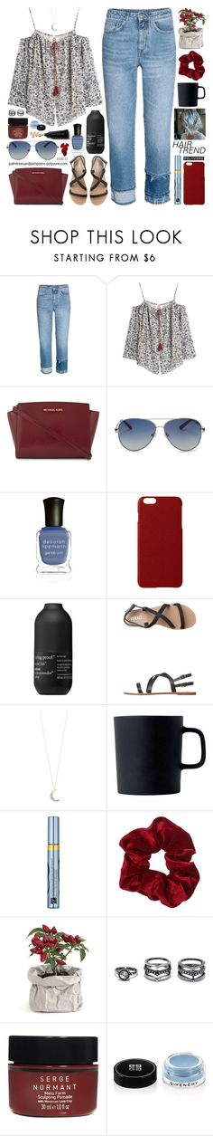 """Matchy-Matchy Hair"" by palmtreesandpompoms ❤ liked on Polyvore featuring H&M, Figue, MICHAEL Michael Kors, Valentino, Deborah Lippmann, Maison Takuya, Living Proof, Verali, Accessorize and Royal Doulton"
