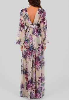 Vestido longo floral fluido com fendas frontais Powerlook - powerlook-V-MOB