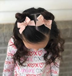girl hairstyles Cute little space buns and curls for today and we finished the look off with these cute velvet heart pigtail bows from sophiajeweldesigns Cute Toddler Hairstyles, Cute Little Girl Hairstyles, Cute Girls Hairstyles, Princess Hairstyles, Easy Hairstyles, Hairstyles For Toddlers, Toddler Hair Dos, 1950s Hairstyles, Female Hairstyles