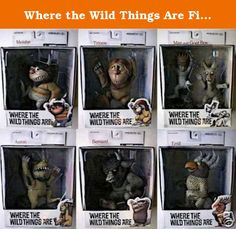Where the Wild Things Are Figure Set of 7 Including Max & Goat Boy, Tzippy, Aaron, Bernard, Moishe, and Emil. The wild things--with their mismatched parts and giant eyes--manage somehow to be scary-looking without ever really being scary; at times they're downright hilarious. Sendak's defiantly run-on sentences--one of his trademarks--lend the perfect touch of stream of consciousness to the tale, which floats between the land of dreams and a child's imagination. Yes, 7 figures total in 6...