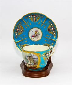 SEVRES JEWELED CUP AND SAUCER MUSEUM QUALITY HAND PAINTED SOFT PASTE PORCELAIN in Pottery & Glass, Pottery & China, China & Dinnerware   eBay