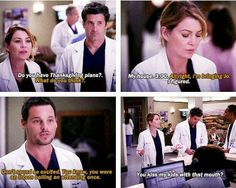 grey anatomy alex and meridith Greys Anatomy Funny, Grays Anatomy Tv, Grey Anatomy Quotes, Greys Anatomy Alex, Alex And Meredith, Meredith Grey, Grey Quotes, Tv Quotes, Dark And Twisty