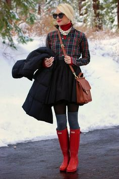 red turtleneck and red boots/ pearls