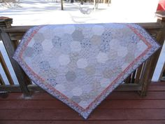 Gray pink and white hexi quilt by Lovedquilts on Etsy