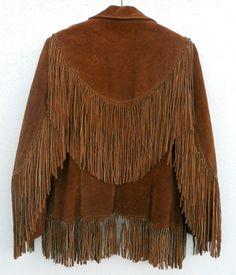 Vintage 60s/70s Brown FRINGED LEATHER Western Jacket. $74.00, via Etsy.