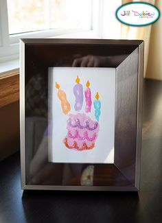 "birthday hand print. put how many ""candles"" on the ""cake"" depending on how old your child is turning."