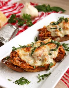 Open-Faced Pulled Chicken Parmesan Sandwich | The Suburban Soapbox