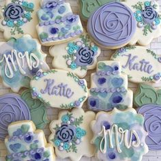 Iced Cookies, Cute Cookies, Cupcake Cookies, Sugar Cookies, Royal Icing Sugar, Royal Icing Cookies, Cookie Designs, Cookie Ideas, Wedding Shower Cookies