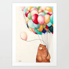 Balloons Art Print by Felicia Chiao - X-Small Printed Balloons, From The Ground Up, Buy Frames, Cute Gifts, Printing Process, Winnie The Pooh, Gallery Wall, Art Prints, Bears