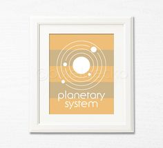 Planetary System  8x10  Kids Room Decor  Orange and by pixelgecko, $14.90