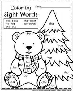 January Kindergarten reading worksheet - Polar bear color by sight word.
