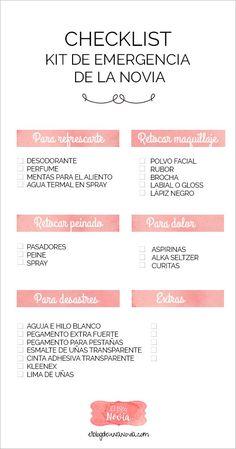 """Checklist: Lo indispensable par el """"Kit de Emergencia de la Novia"""""""