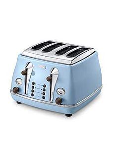 Delonghi Vintage Icona blue 4 slice toaster - House of Fraser