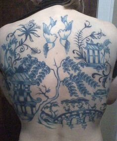 Blue willow tree china pattern tattoo photo by Misty Day14 from Flickr at Lurvely