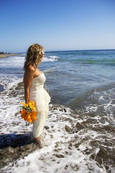Bride stands in ocean at Harris Beach in Brookings, Oregon  Sara Faith Photography » Professional Photography » Bridal Gallery