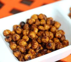 These spicy roasted chickpeas will be a new household favorite once you try them! They've got a bite, but with all the protein, they keep you full for hours.